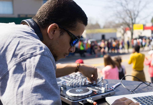 DJ Haze at the 6 Mile Moment Boston Marathon
